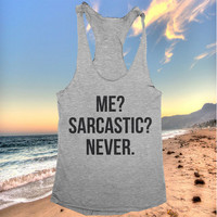 me sarcastic never racerback tank top yoga gym fitness workout exercise muscle top women ladies funny training tumblr