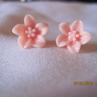 Peach Lily Flower Resin Flower Earrings