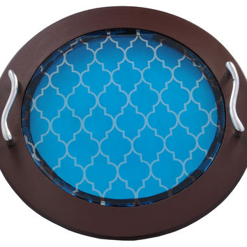 Moroccan Round Tray, Blue, Serving Trays