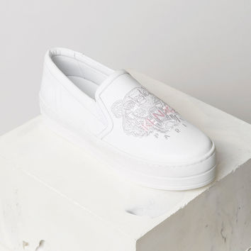 Tiger slip-on leather platform