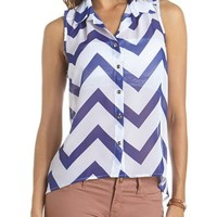 Chevron Stripe Button-Down Tank: Charlotte Russe