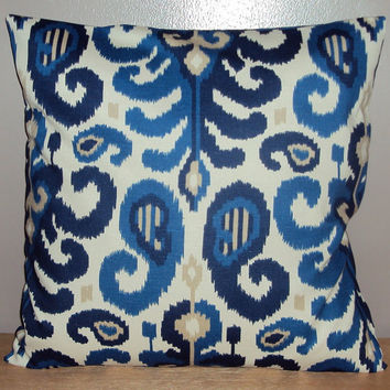 18x18 Navy Indigo Blue Ikat Decorative Pillow Cover - Same Fabric Both Sides
