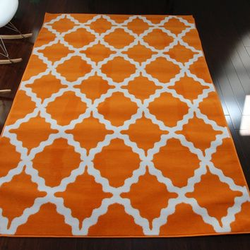 0418 Orange Trellis Area Rugs