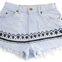 Tribal/Aztec Shorts, Hand Painted, Vintage Distressed High Waisted Denim, Upcycled W27