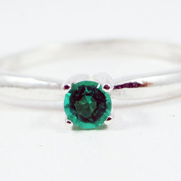 Tiny Emerald Solitaire Ring Sterling Silver, May Birthstone Ring, Small Emerald Solitaire Ring, Emerald Stacking Ring, 925 Emerald Ring