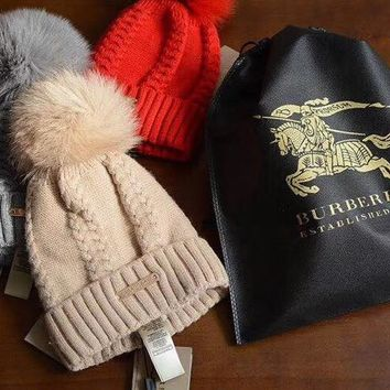 BURBERRY  Knit And Pom Hat Cap
