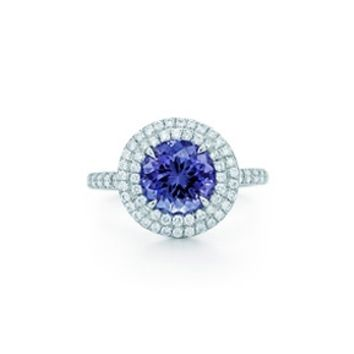 Tiffany & Co. -  Tiffany Soleste® ring in platinum with a .70-carat tanzanite and diamonds.