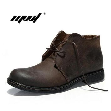 British Style Handmade Men Boots Crazy Genuine Leather Men Autumn Martin Boots Water Proof Work Safety Winter Ankle Boots Shoes