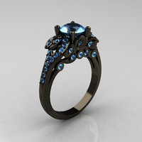 Classic 14K Black Gold 1.0 CT Blue Topaz Blazer Wedding Ring R203-14KBGBT