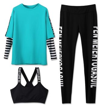 New Hot High Quality 3 Pieces Fitness Women Yoga Set Letter Bra & Pants Striped Patchwork Gym Clothes Sport Wear Outdoor Jogging
