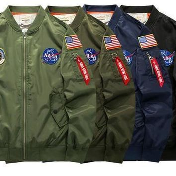 Nasa Ma1 Bomber Jacket Insignia Usa Fhip Hop Sport Windbreaker Men Jacket Flag Spring Thin Section Jacket Size M 5xl