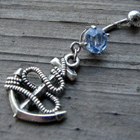 Anchor Belly Button Jewelry Ring- Crystal Belly Ring- Silver Anchor Charm Dangle Navel Piercing Bar Barbell