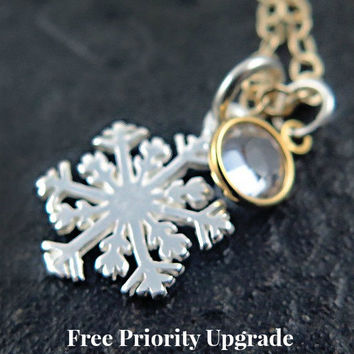Sterling Silver Snowflake Necklace Winter Jewelry Frozen Crystal Necklace Silver and Gold Ice Skating Holiday - Skating Party
