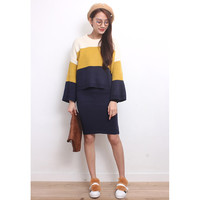 Color Blocking Oversized Knit Jumper + Skirt Co-Ords