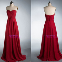 Cheap Prom dress, Red prom dresses, long bridesmaid dress