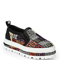 MSGM - Tweed Slip-On Platform Sneakers - Saks Fifth Avenue Mobile