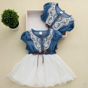 2015 Princess Girls Baby Kids Lace Belt Denim Tulle Stitching Dresses Age 1-6Y