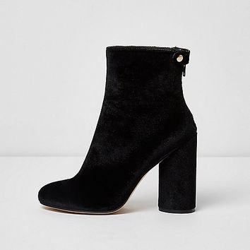 Black faux suede block heel ankle boots - Boots - Shoes & Boots - women
