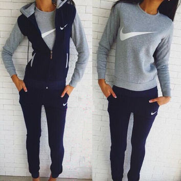 "2016 ""NIKE"" Winter Fashion Keep Warm Set (3 Piece Set) Tops + Pants + Jacket"