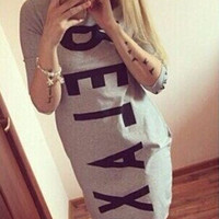 Women's Casual Summer Style Sports Letters Printing Vestidos Shirt Dress