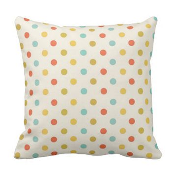 Polkadot Polyester Throw Pillow