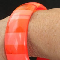 60s Lucite Bracelet / Pink Orange /Translucent and Opaque