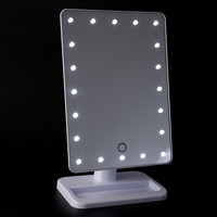 LED Touch Screen Makeup Mirror Professional Vanity Mirror With 20 LED Lights Health Beauty Adjustable Countertop 180 Rotating