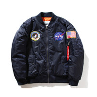 MASA Jacket MA1 Flight Bomber Jacket Army Military Air Force Baseball Jackets Remove Before Flight Outcoat NASA Clothes Women XS