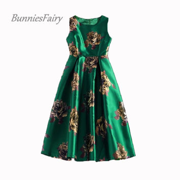 BunniesFairy 50s Vintage Celebrity-inspired Elegant Rose Retro Flower Floral Print Green Vest Dresses Sleeveless Wedding Party