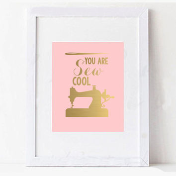 """Mother's Day Sewing """"Sew Cool"""" Digital Printable Typography Art"""