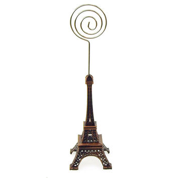 Metal Eiffel Tower Decor Card Holder, 4-inch, Swirl, Brown
