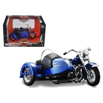 1952 Harley Davidson FL Hydra Glide with Side Car Blue with Black Motorcycle Model 1/18 Diecast Model by Maisto