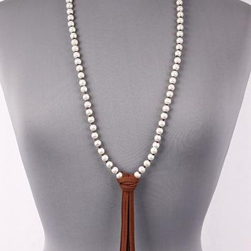Long Pearl Necklace with Suede Feature