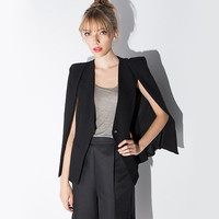 Black Single Button Cape Coat