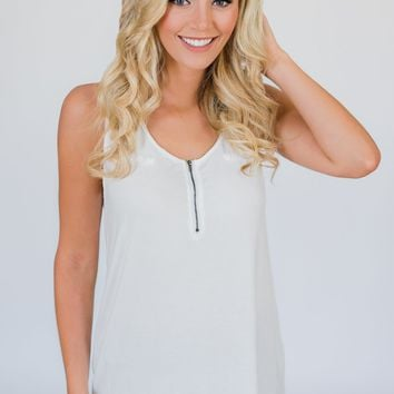 Best of my Days Lace & Zipper Tank Top- Ivory