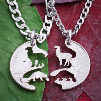 Platypus and Llama, Best Friends Necklaces