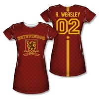 Warner Bros. Women's Ron Weasley 02 Gryffindor Quidditch Allover Print Juniors T-Shirt Small