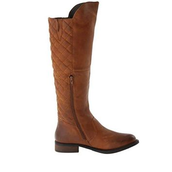 Steve Madden Northside - Brown Leather Tall Zip Quilted Boot