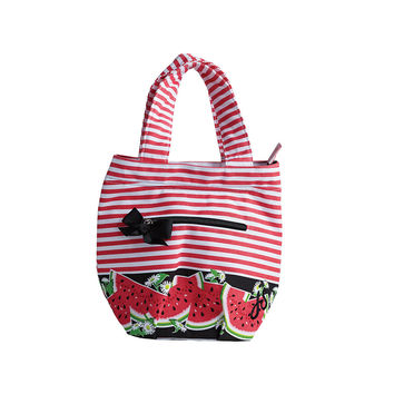 Watermelon Stripe Insulated Lunch Tote