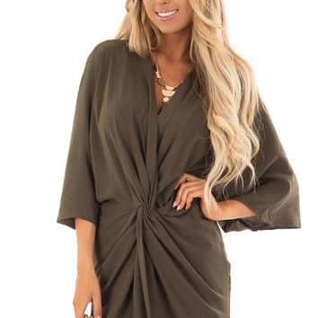Olive Twisted Front Kimono Style Dress