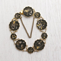 Vintage Damascene Asian Panel Bracelet - Gold & Silver Inlay on Black Tile Japanese Jewelry / Kyoto