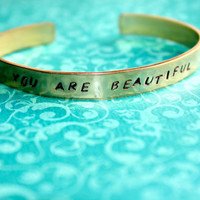 Custom Hand Stamped Brass Skinny Bracelet - You Personalize- Can Have Hidden Message
