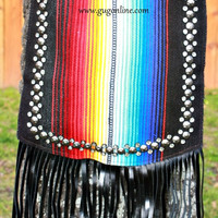 KurtMen Designs Cross Body Black Serape, Silver Star Studded and Clear Crystals Trim, Black Fringe and Black Back Purse