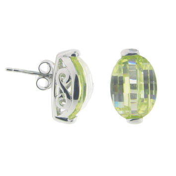 Fronay Collection Electric Green Cubic Zirconia Studs: Sterling Silver