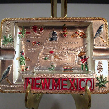 Early 50s Kitsch Pressed Tin Souvenir Ashtray // New Mexico // from UBlinkItsGone