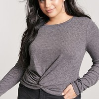 Plus Size Ribbed Knit Twist-Front Top
