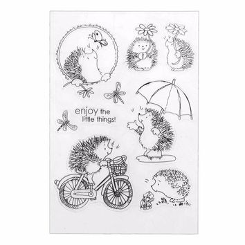 Silicone Transparent Clear Hedgehog Scrapbook Stamp Seal DIY Embossed Die For Paper Card Craft Making Fun Play Book Animal Decor