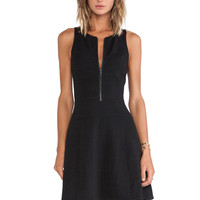 Black Zipper Front Skater Dress