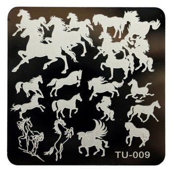 Newly Design Authorized Horse Pattern DIY Nail Art Stamping Plates Stainless Steel Template 160329 Drop Shipping