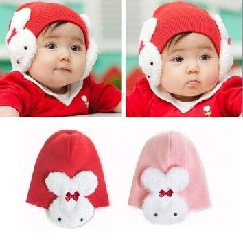 Rabbit Ear Protector Cute Bunny Baby Caps Newborn Beanies Skull Children Berets Bonnet Cap Winter Warm Girls Hats Infant Cap